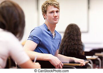 Student sitting at a table