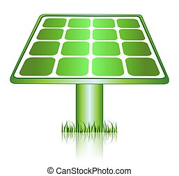 Green Solar Energy Panels Icon - This illustration features...