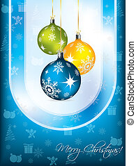 Blue christmas card design - Blue christmas greeting card...