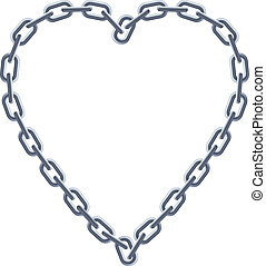 Chain silver heart Illustration on white background