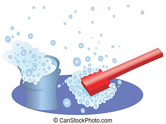 Bucket and brush with a soapsuds and bubbles