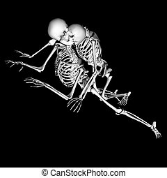love - a pair of skeletons in a unique pose, intended as a...