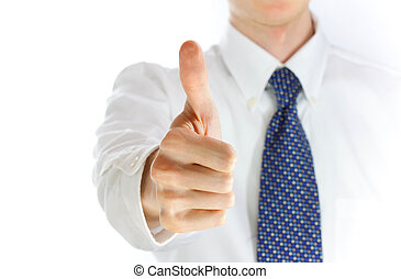 Young businessman showing thumb up over white background