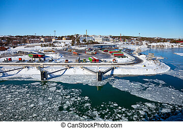 Port covered with ice