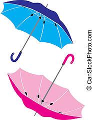 The big umbrella. Two umbrellas
