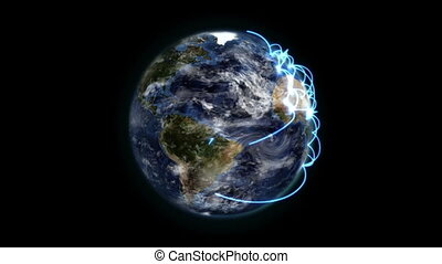 Earth with blue connections turning on itself with moving...