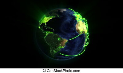Shaded and lighted Earth with green connections in movement...