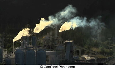 Cement plant pollution - Smoke stacks and polluting cement...