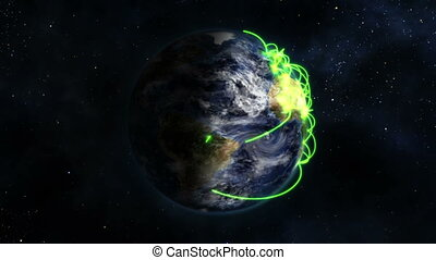 Earth with green connections in movement with Earth image...