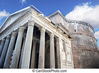 Pantheon, Rome - exterior of the pantheon in rome italy,...