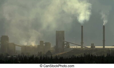 Cement plant pollution - Smoke stacks from polluting cement...