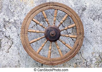retro, girar, roda