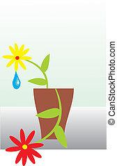 ?destruction of a flower. A flower in a pot