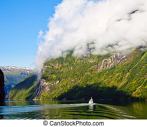 Geirangerfjord - Ship in the Geiranger fjord, listed as a...