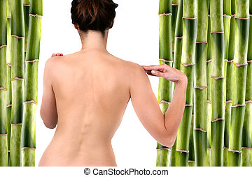 Spa Concept - Nude woman surrounded by bamboo shoots and...