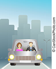 man and woman on the city road - Cute man and woman in car...