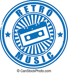 Stamp audiocassette retro music. - Stamp audiocassette retro...