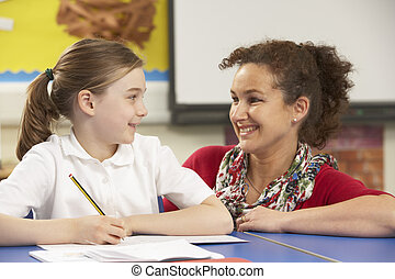 Schoolgirl Studying In Classroom With Teacher