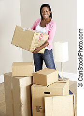 Woman Moving Into New Home