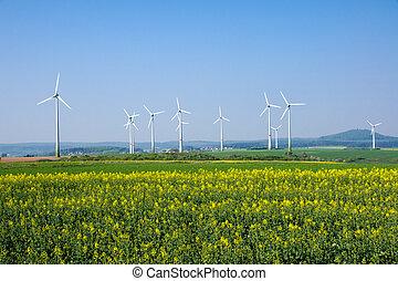 Windwheels in rural Germany - Windwheels and a rapeseed...
