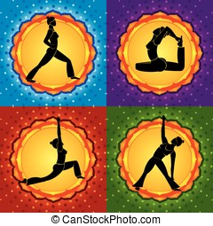 Yoga square - Background with different chakras