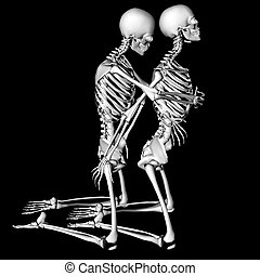 intimate - skeletons in a sexual pose intended as a prank...