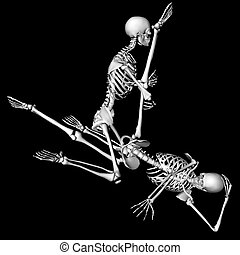 one leg up - skeletons in a sexual pose intended as a prank...