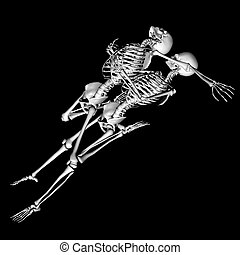 embrace - skeletons in a sexual pose intended as a prank for...