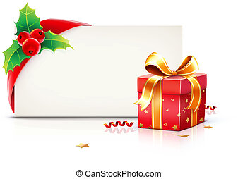 Christmas frame - Vector illustration of shiny red gift...