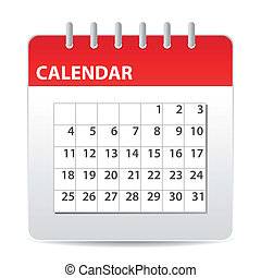 calendar icon - red calendar icon with days of month