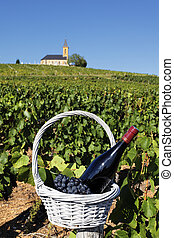 french wine - bottle of wine in basket and church in France