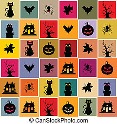 Halloween Seamless Pattern - Vector Halloween seamless...