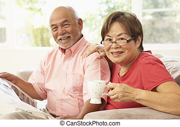 Senior Couple Reading Newspaper At Home