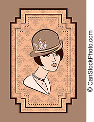 Vintage fashion girl in hat.
