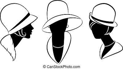 vendimia, Moda, niña, sombrero