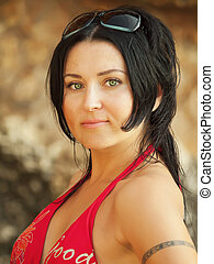 portrait of women in red bikini - portrait of nice women in...