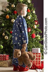 Young Boy Holding Teddy Bear In Front Of Christmas Tree