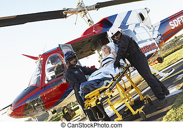 Paramédicos, Descargar, paciente, Medevac
