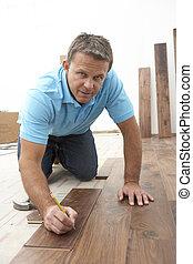 constructor, colocar, de madera, embaldosado