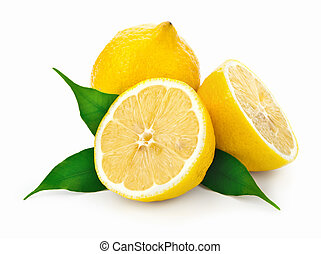 Lemons - Fresh juicy lemons with green leaves on white...
