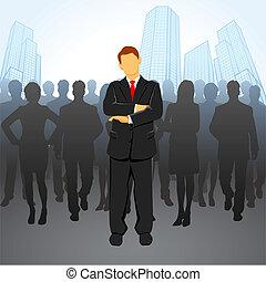 Leader - illustration of leader standing in front of...