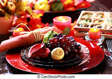 Place setting for Thanksgiving - Luxury place setting for...