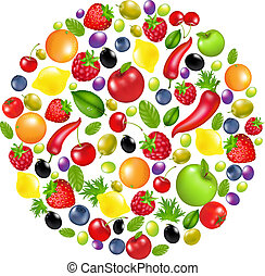 Circle From Vegetables And Fruit