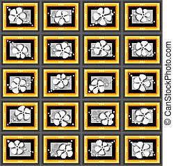 Pattern with flowers and frames. - Dimensional pattern with...