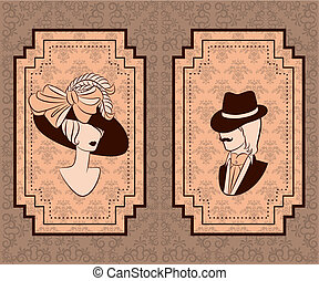 Vintage silhouette of girl with man