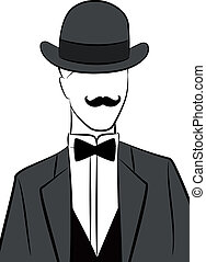Vintage silhouette of man in hat
