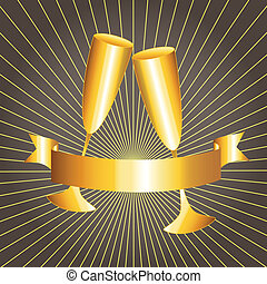 Gold cups and ribbon banner - Golden celebration: gold cups...