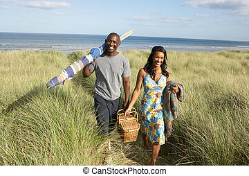 Young Couple Carrying Picnic Basket And Windbreak Walking...