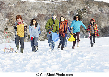 Group Of Teenage Friends Sledging In Snowy Landscape
