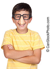 Funny child with glasses and nose joke isolated on white...